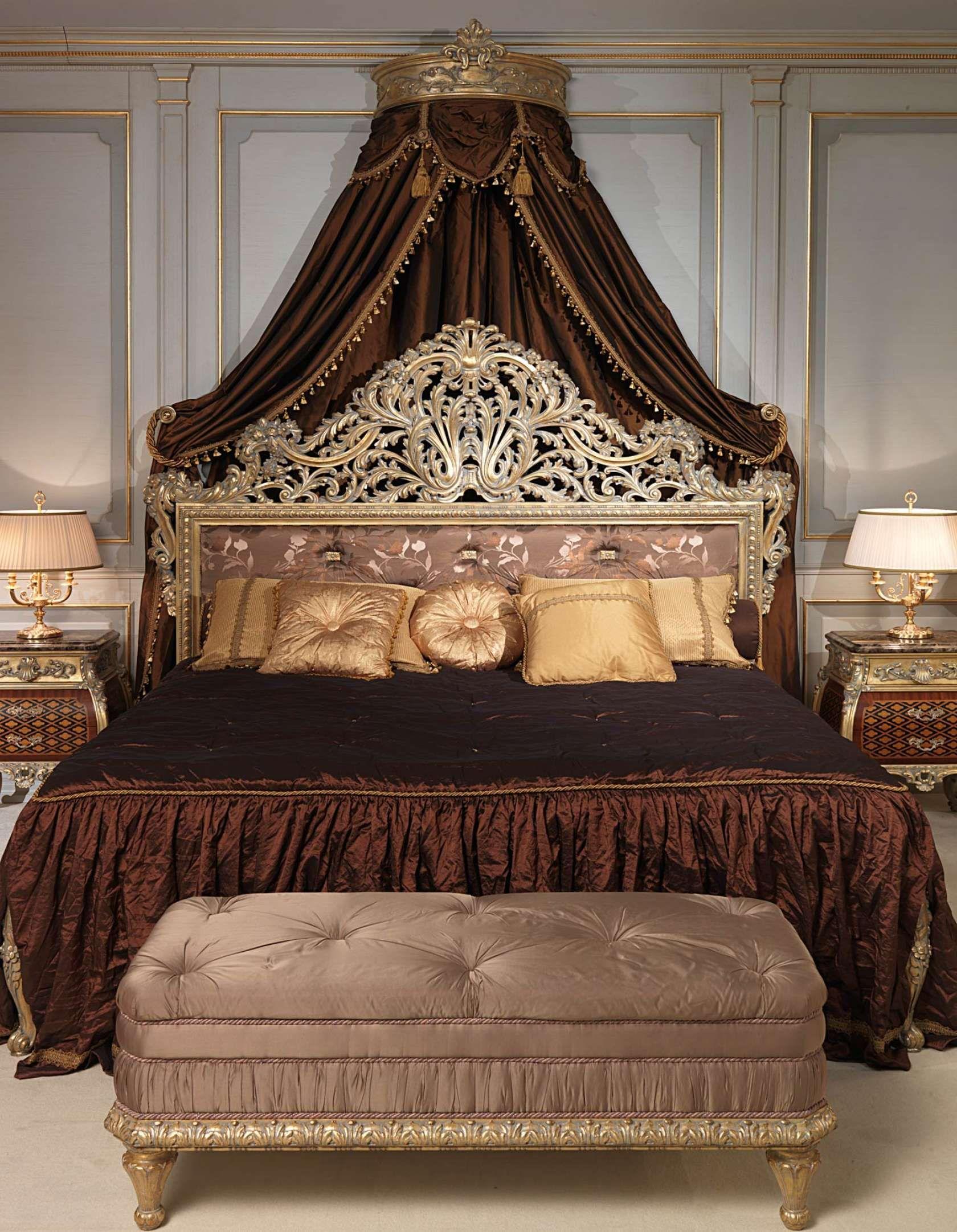 Luxury Classic Bedroom Louis XV Emperador Gold | Vimercati Classic Furniture