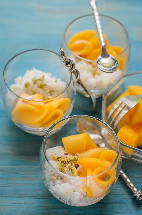 yummy glutinous rice with mango and coconut milk | Mango ...