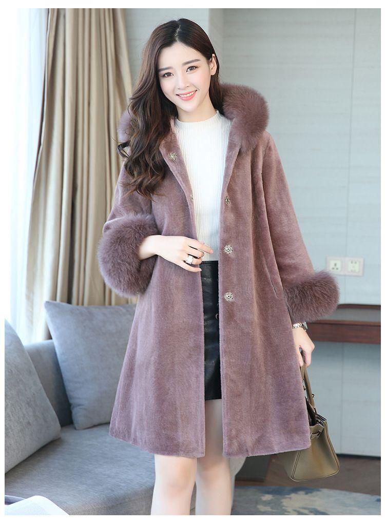 LXUNYI Hiver Chaud Femmes En Fausse Fourrure de Manteau Avec Capuche  Coréenne dames Lâche Mode Tonte 663f02d7cbc