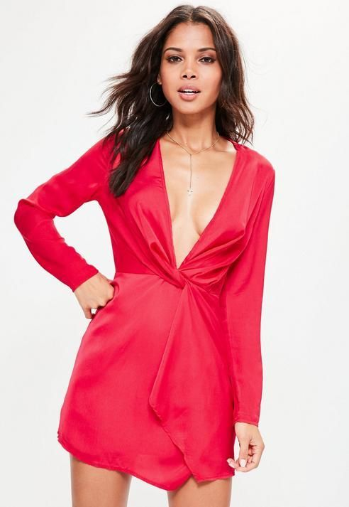 Missguided Silky Plunge Wrap Shift Dress Red  6c7501bf087f