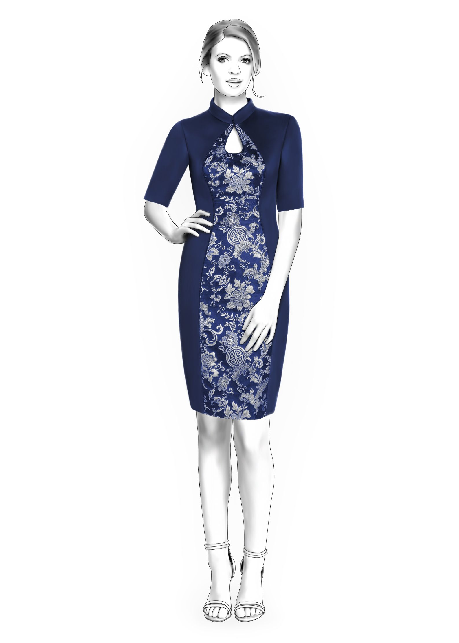Dress With Mandarin Collar, Teardrop Neckline And Inset In Princess ...