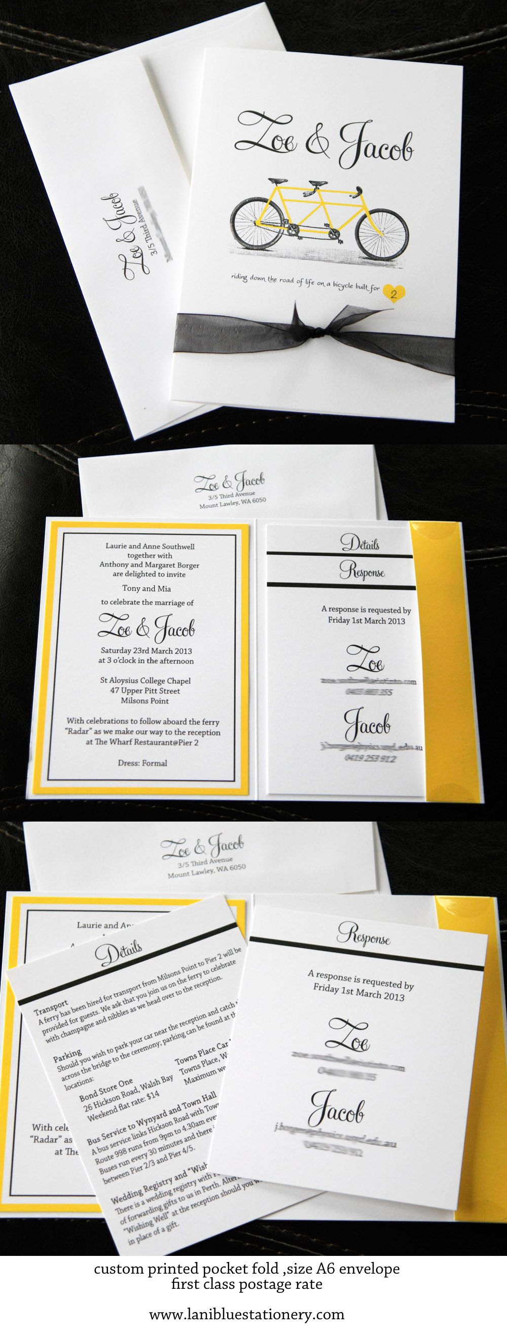 Custom wedding invitations, custom printed pocket fold. Requires just first class postage to mail.