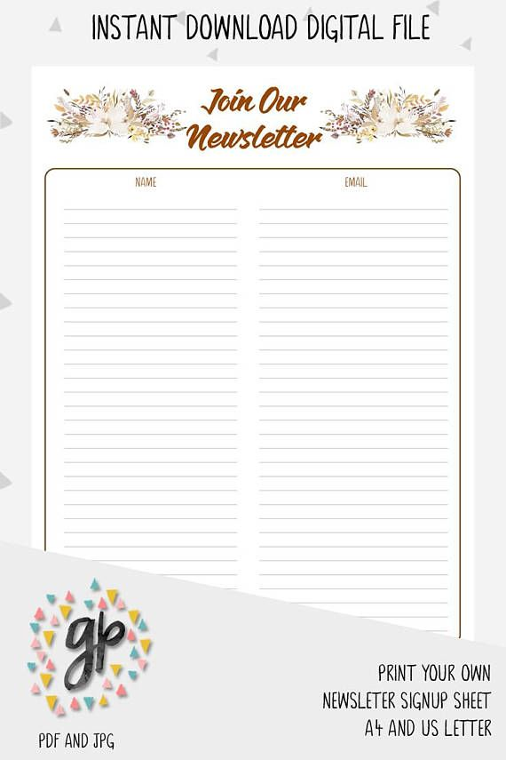 Use this printable Newsletter signup sheet as an effective way to