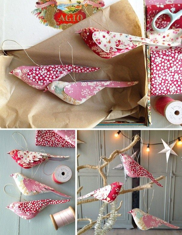 tutorial and pattern fabric bird christmas ornaments