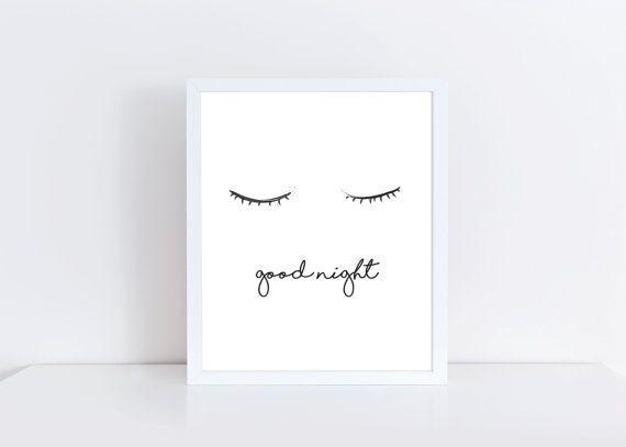 Goodnight printable wall art decor bedroom sleep black and white minimalist print home office nursery graphic also rh pinterest