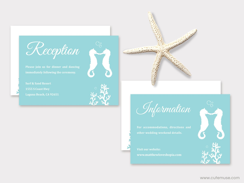 Beach Wedding Invitation Printable, Seahorse Wedding, Destination ...
