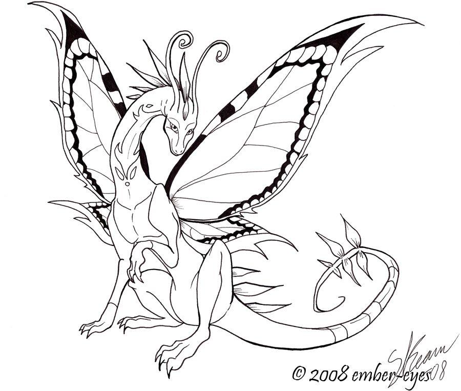 Butterfly Dragon Line Art by Ember Eyes on DeviantArt