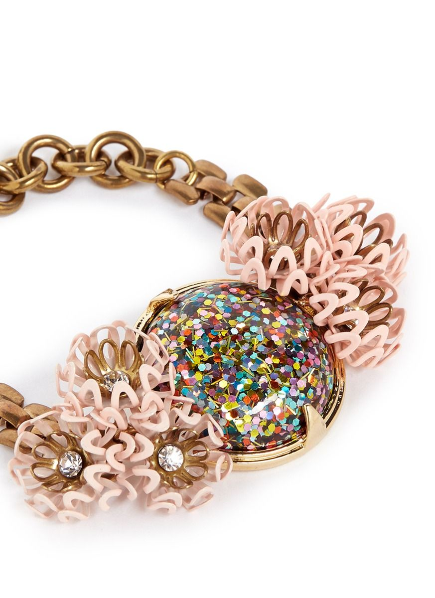 LULU FROST 'Vivien' glitter dome flower chain bracelet