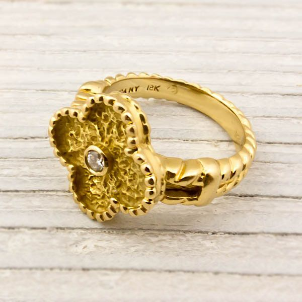 Gold Diamond Alhambra Van Cleef & Arpels Ring | Erstwhile Jewelry Co.