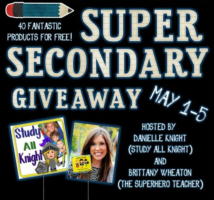 Super Secondary TpT Giveaway! Just in time for Teachers Appreciation Week! 40 Products from TpT's Top Secondary Teacher Stores. ONE Grand Prize! Enter May 1st to May 5th