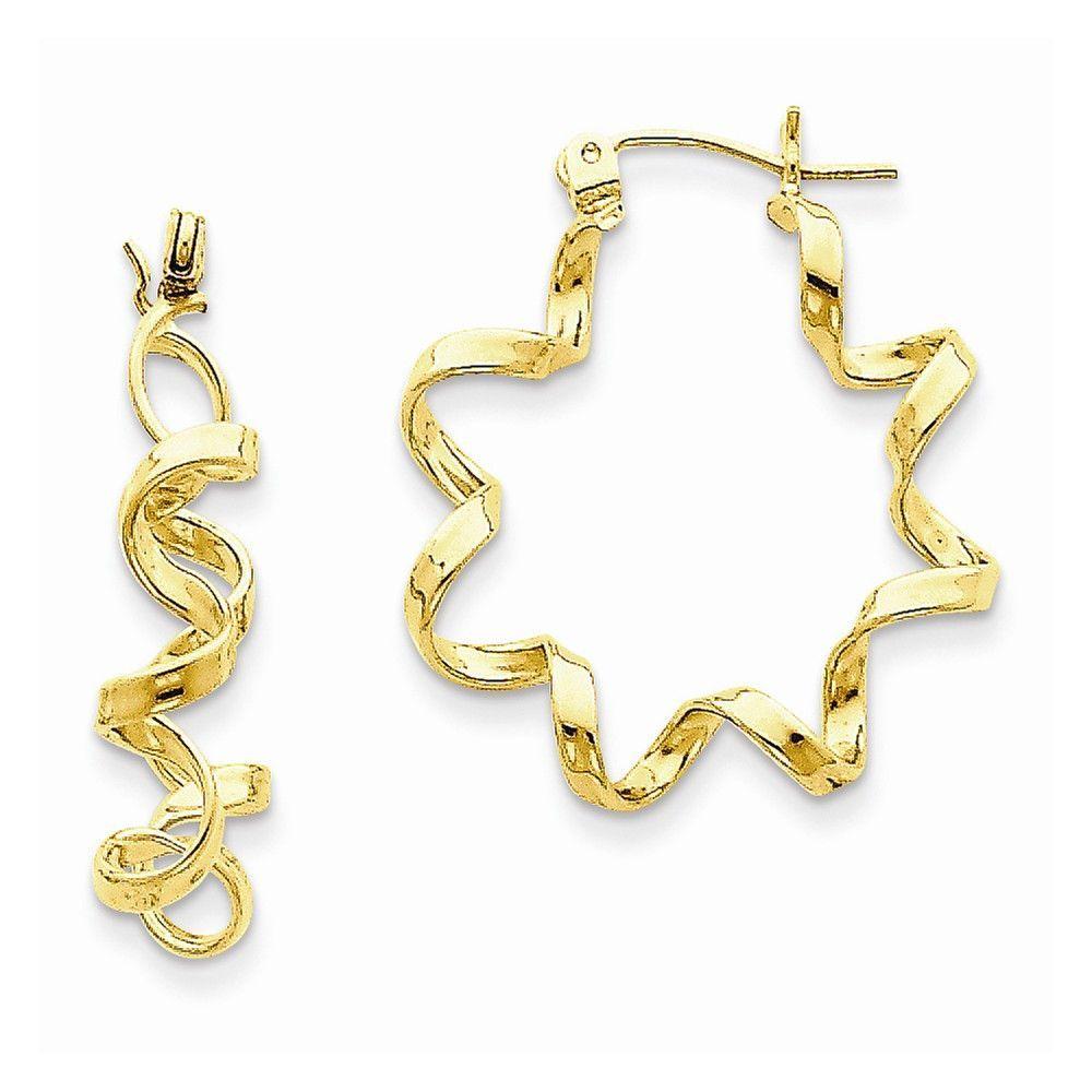 14k Fancy Spiral Hoop Earrings