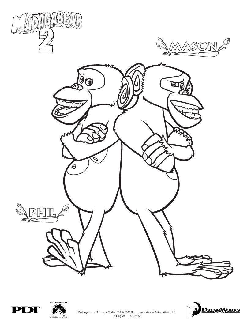 Madagascar 3 coloring pages - Madagascar 2 Chimpanzee Coloring Pages Coloring Famous Character Coloring