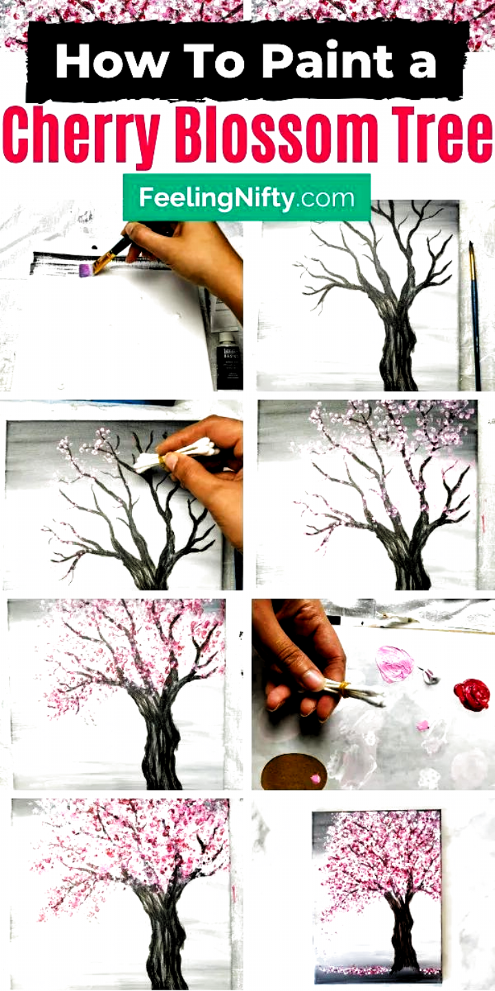 Paint A Cherry Blossom Tree With Acrylic Paints And Cotton Swabs Find Out Paint A Cherry Blo In 2020 Cherry Blossom Tree Blossom Trees Art Projects For Teens