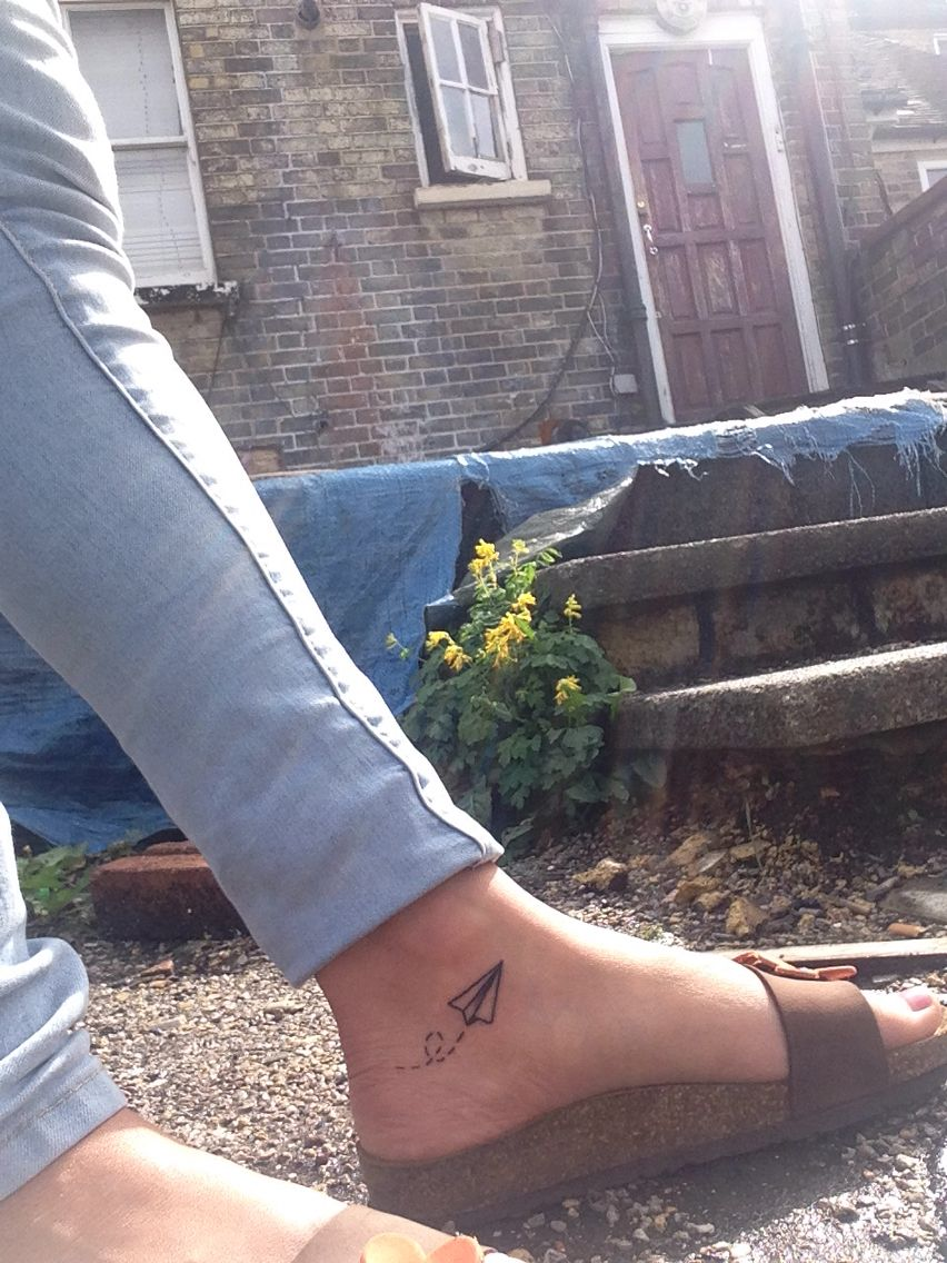 London Paper Airplane Tattoos Airplane Tattoos Ankle Tattoo Small