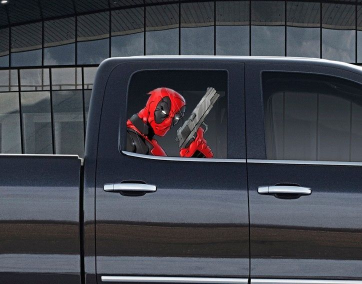 Vinyl car window full color graphics decal deadpool with gun sticker unbranded