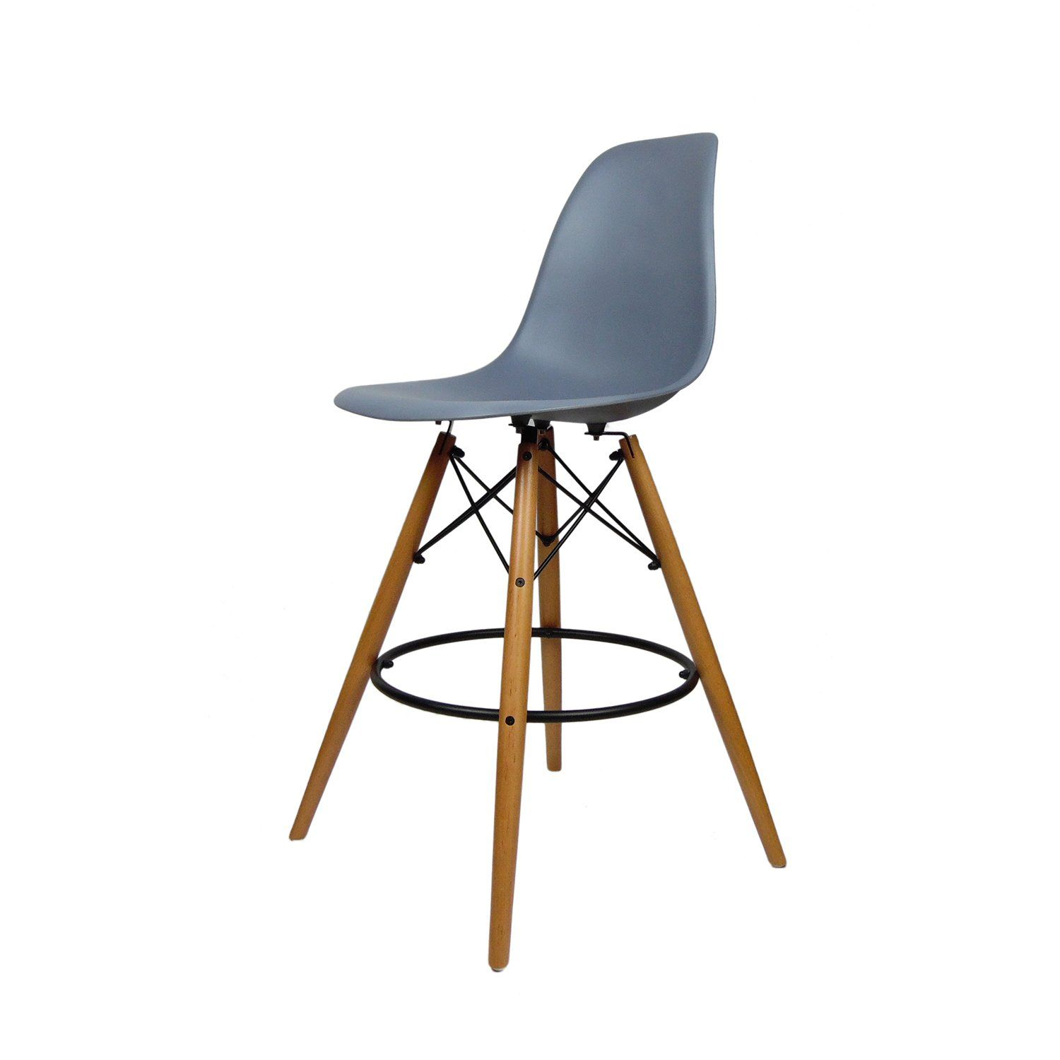 amazoncom mid century modern eames dsw style counter bar stool with dowel wood