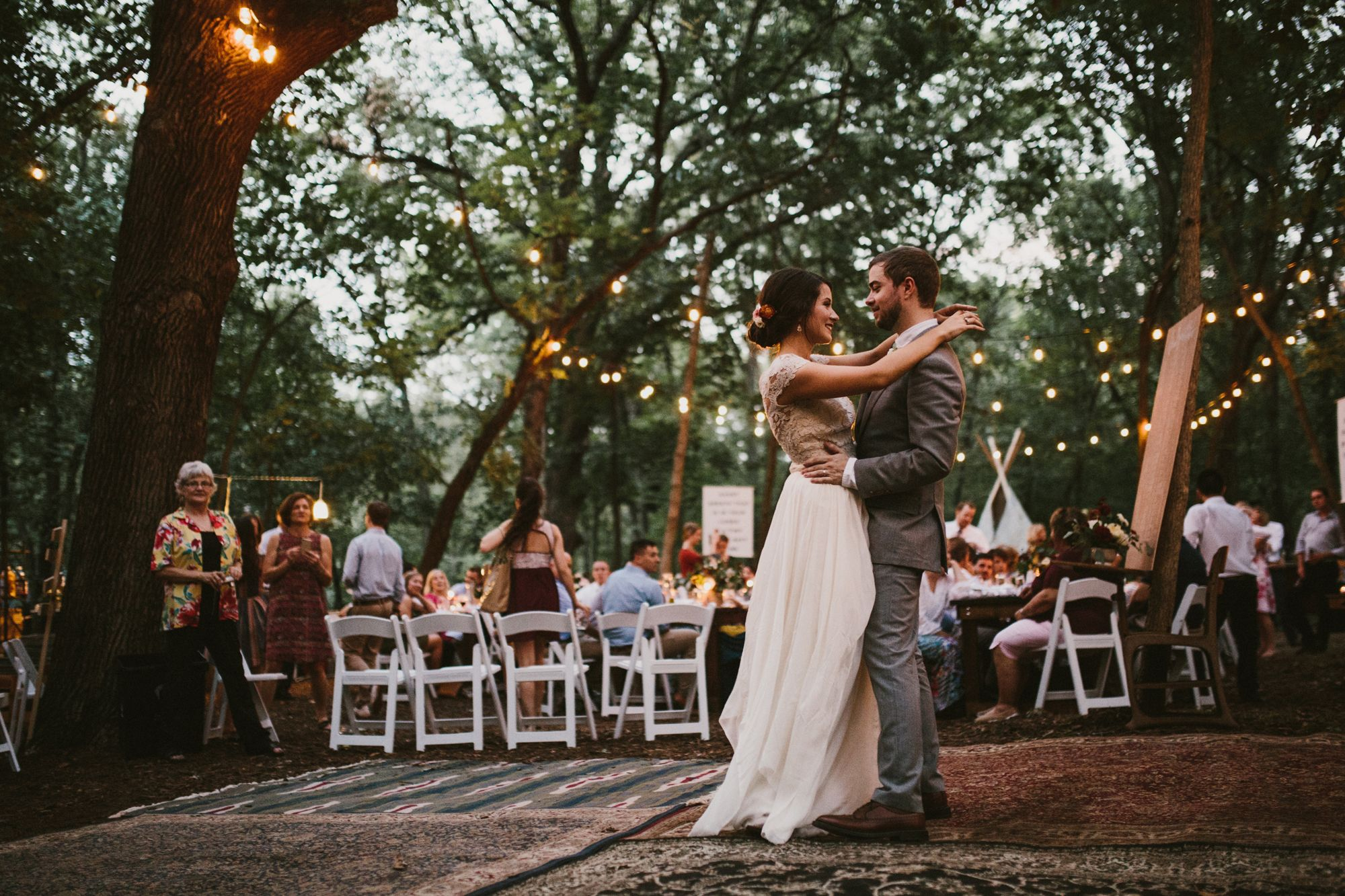 Diy Backyard Wedding In The Woods Reception String Lights First Dance Rug