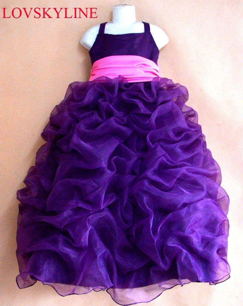 2017 flower girls dress Spaghetti Strap purple big bow princess ...