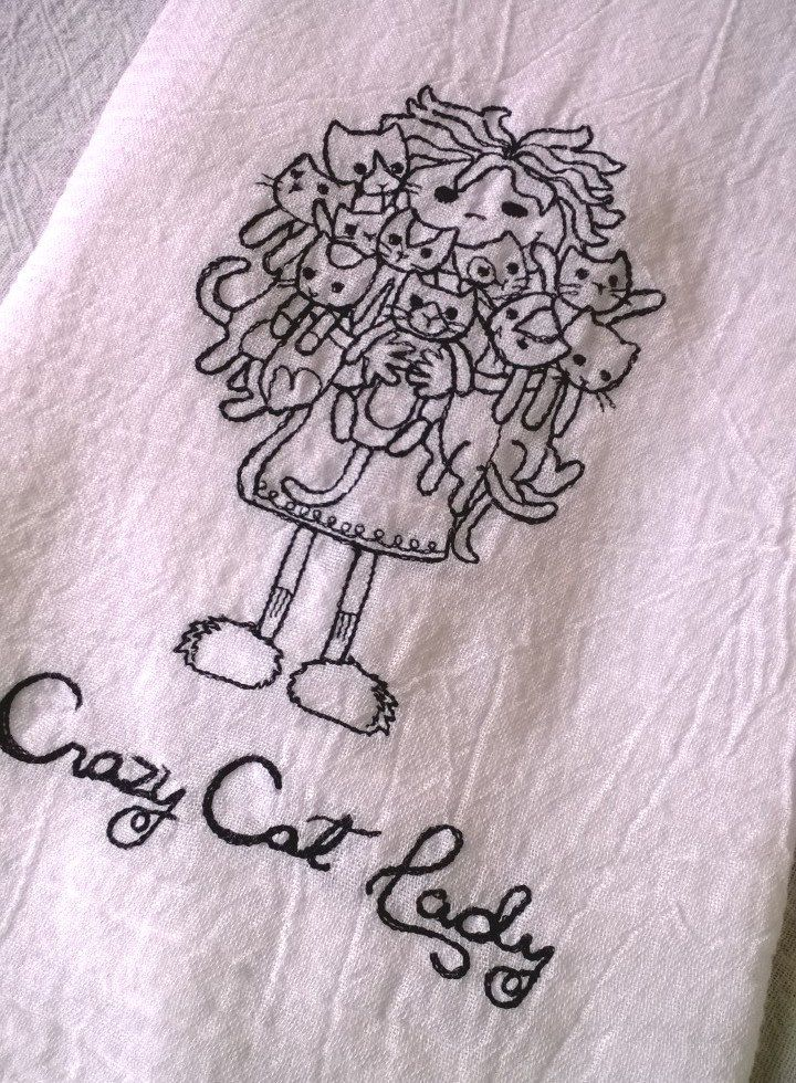 ba1f30de9695a Crazy Cat Lady Embroidered Cotton Dish Towel | Embroidery for Animal ...
