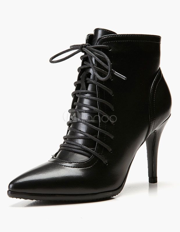 Nero Ankle Stivali Donna Pointed Toe Lace stivaliies Up High Heel stivaliies Lace   2c3efc