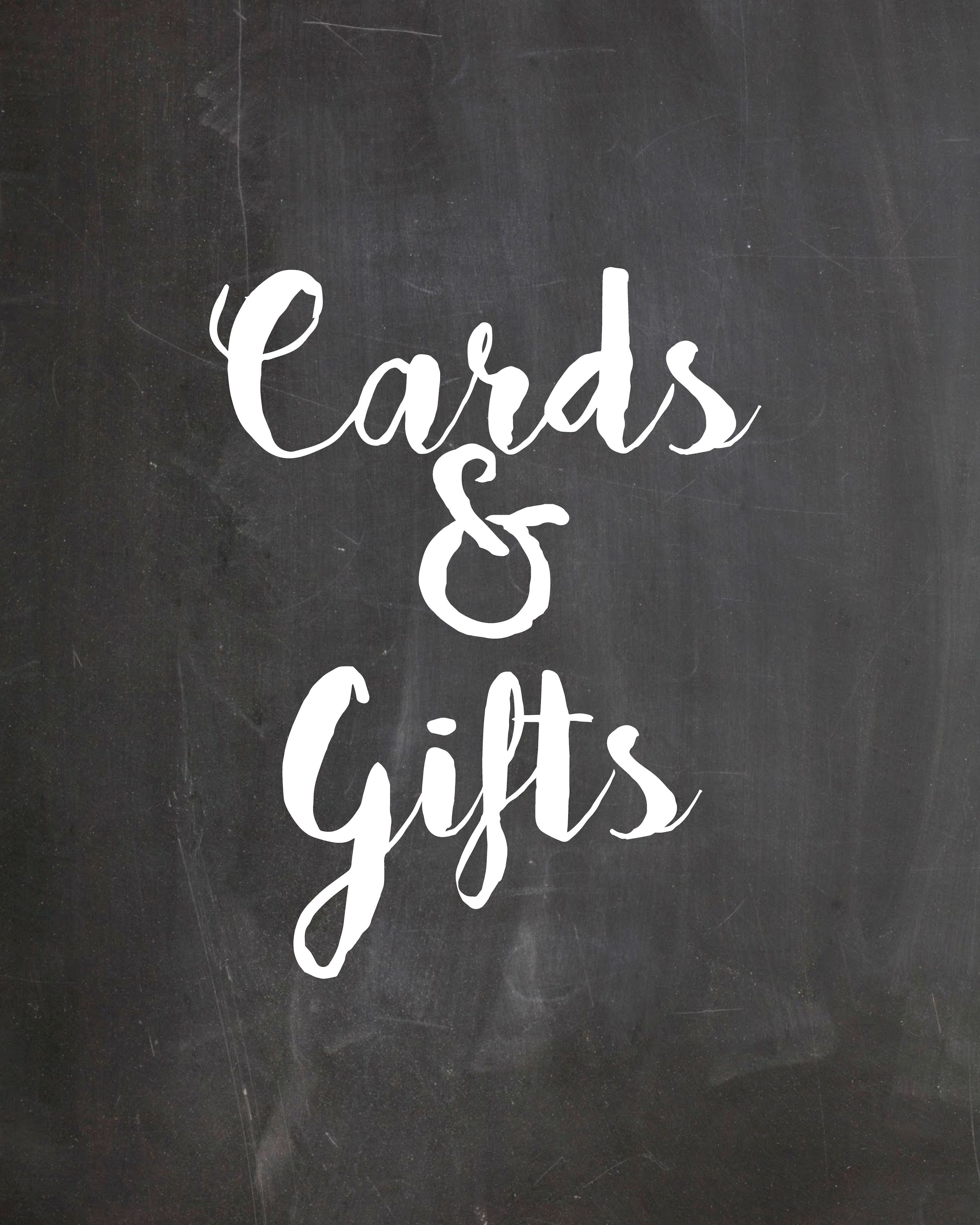 Cards And Gifts Free Wedding Chalkboard Decor Design Printable Signs