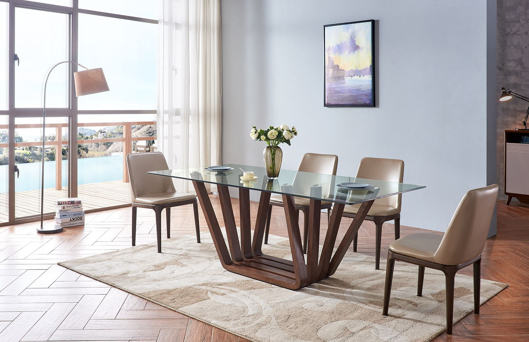 sophisticated rectangular wooden and clear glass top