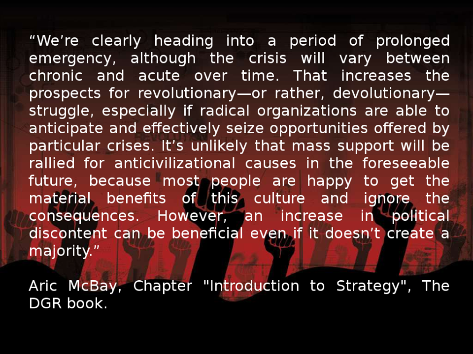 Learn from our book on the strategies and tactics we propose to save the planet: http://deepgreenresistance.org/who-we-are/deep-green-resistance-book