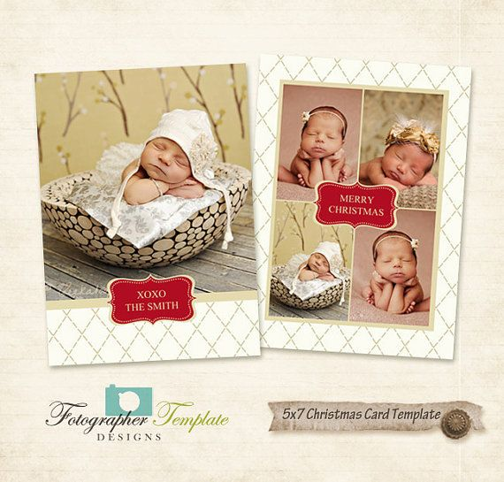 Christmas Card Template 5x7 Photographers by PhotographerTemplate, $5.00