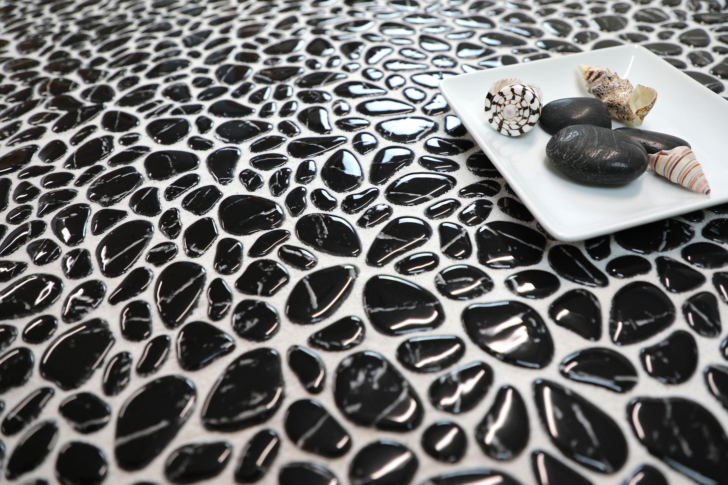 Micro Crystal Pebbles Nero Stone Tiles Pebbles Pebble Stone