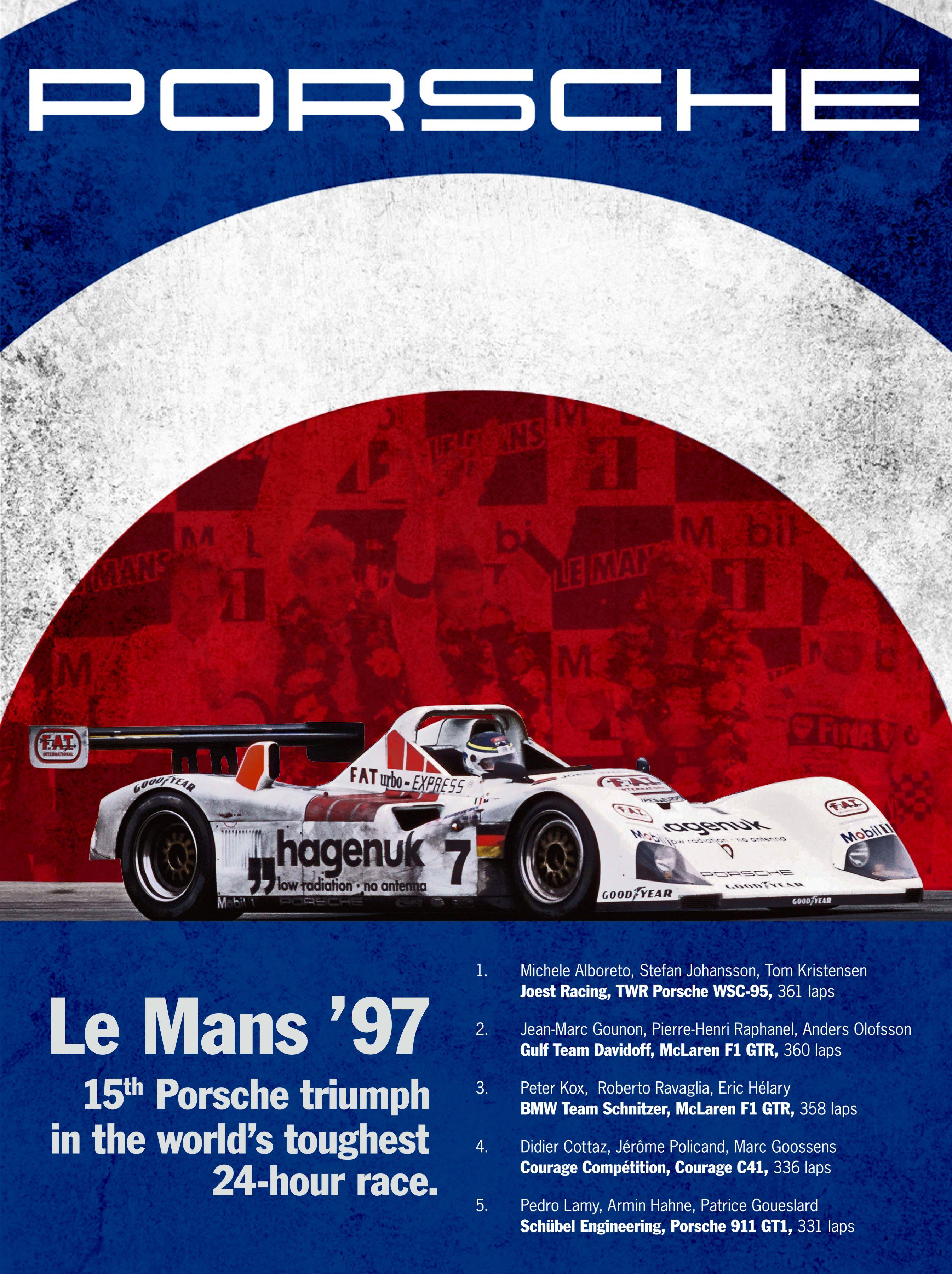 Porsche Le Mans '97 Victory Poster by: Jeff Wolfe (http://pinterest.com/jwolfe81/)