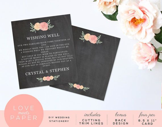 Wishing Well Wedding Card Template 35x4 Word by LoveMeetsPaper - wedding card template