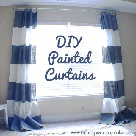 #DIY Painted Stripe #Curtains #decorating