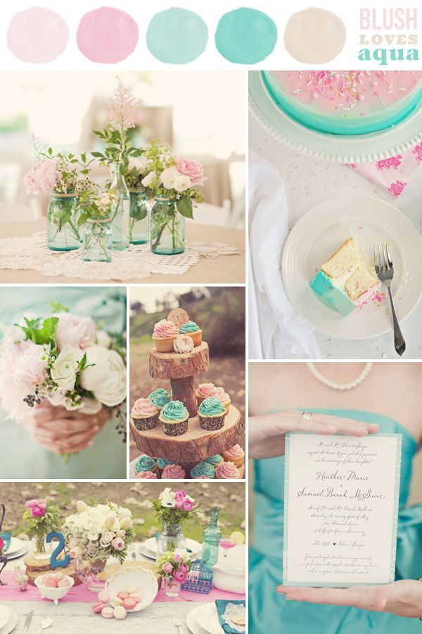 Blush And Aqua Wedding Colour Palette