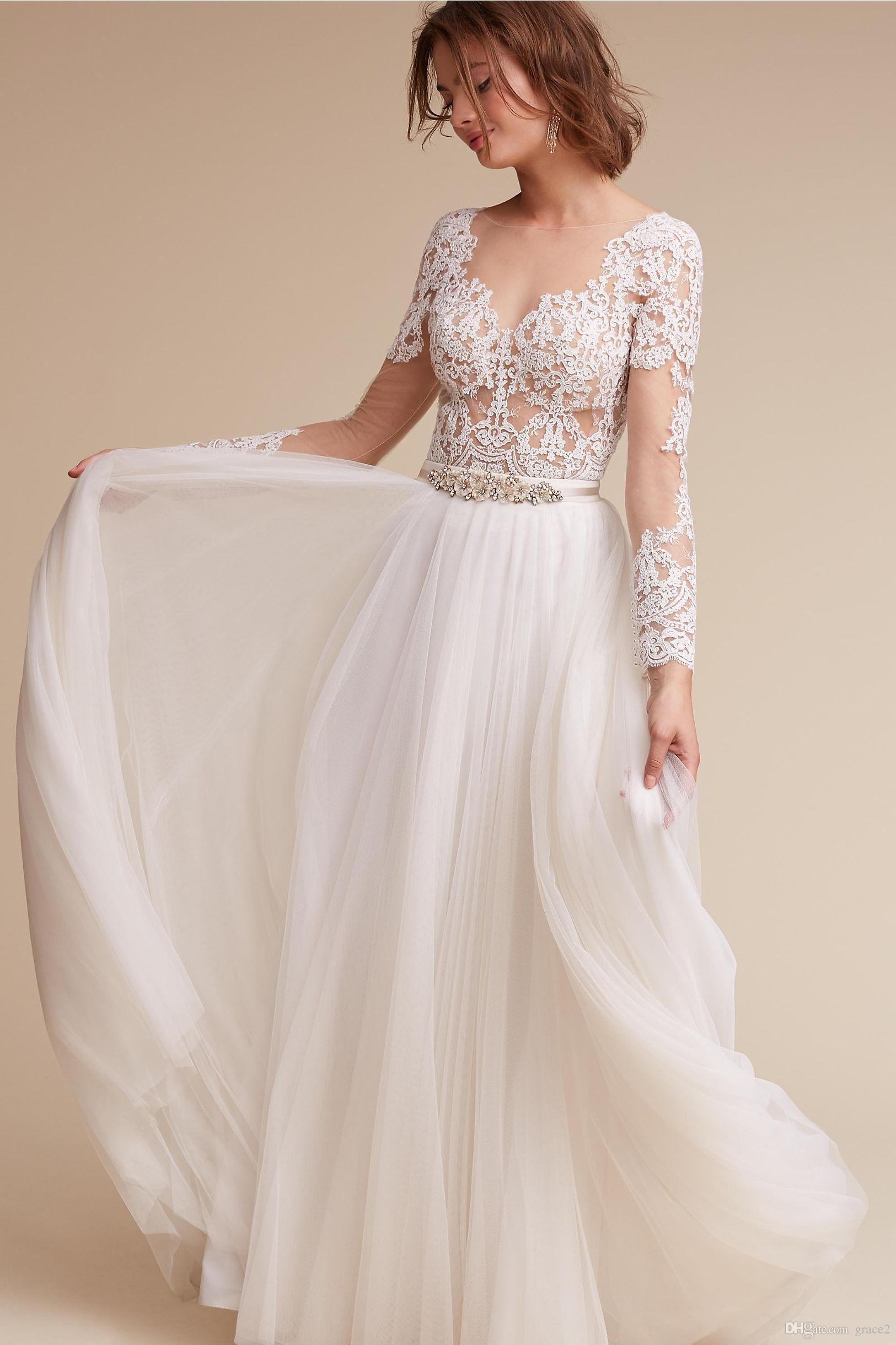 Boho Wedding Dresses 2017 Bhldn with Illusion Neck Ivory