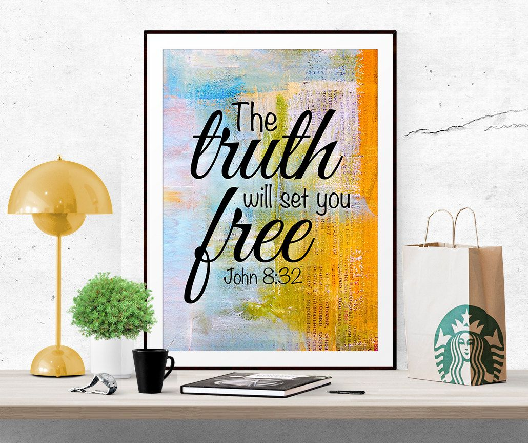The Truth will set you free, John 8:32, Printable art, digital print, Bible verse art Scripture art Christian art Inspirational quote poster by InArtPrints on Etsy