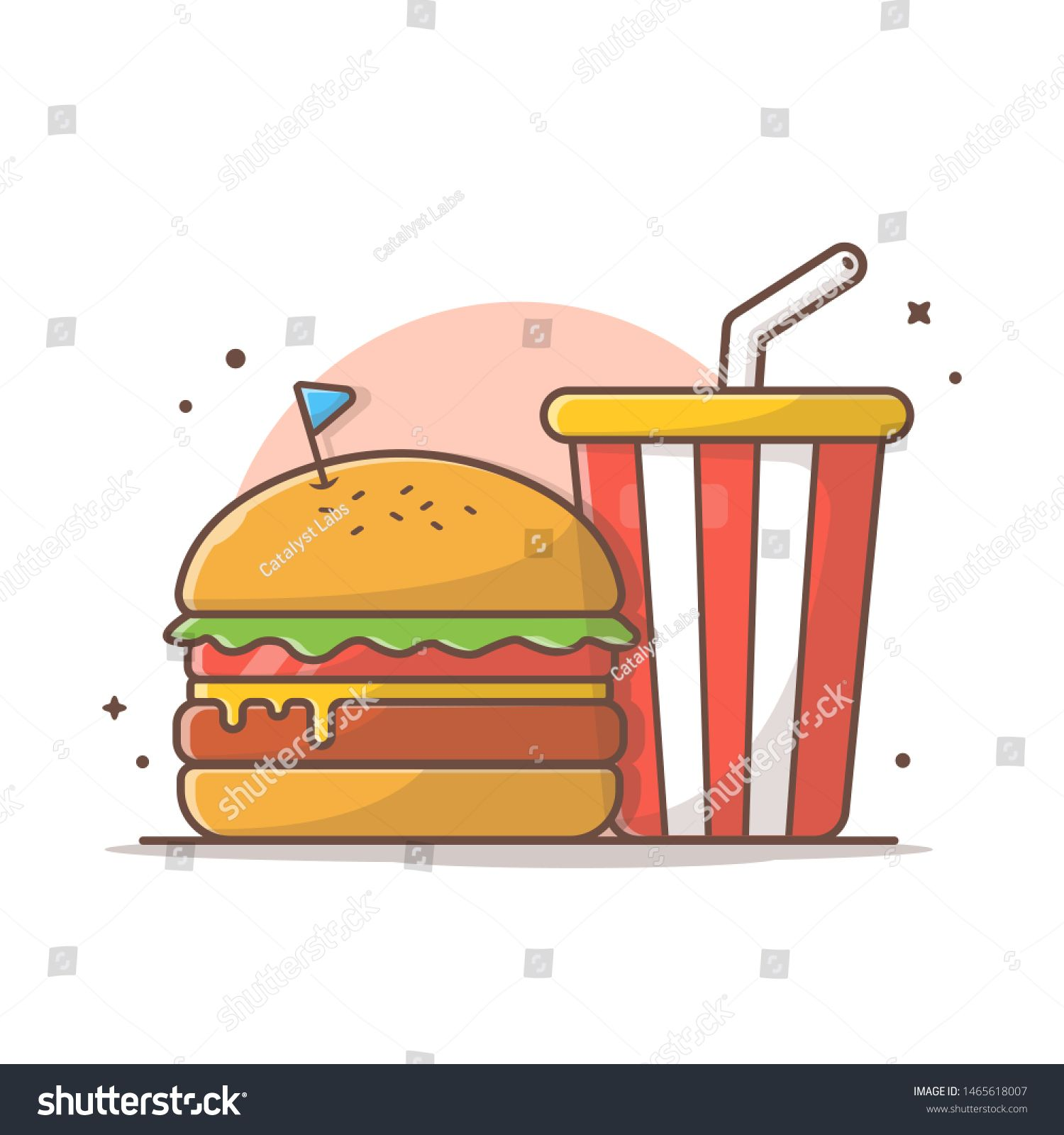 Burger Icon with Soda and Ice Vector Illustration