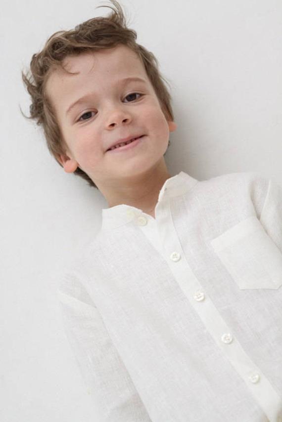 047659ca6 Boys linen shirt Mandarin collar shirt Toddler boy long sleeve ivory shirt  Wedding party shirt Bapti