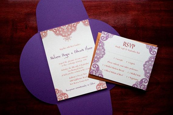 Henna Moroccan Wedding Invitation Sample Morocco By Tulaloo