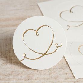 Faire part mariage carte simple blanche et motifs dorés