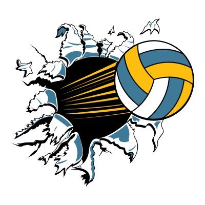 Volleyball Ripping Through Blue And Gold Volleyball Wallpaper Volleyball Posters Volleyball Locker Decorations