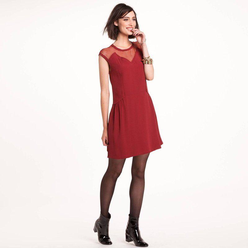 01a9ab1ee Robe courte sans manches tulle reliéfé femme Color Block   Rouge à ...