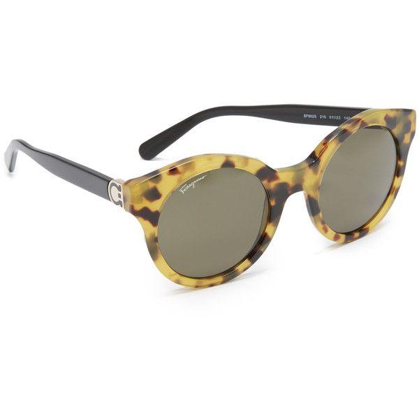 e2aee18db4e Salvatore Ferragamo Round Sunglasses ( 275) ❤ liked on Polyvore featuring  accessories