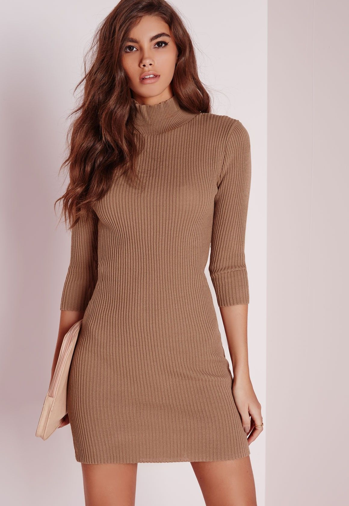 Missguided - Mini Turtle Neck Sweater Dress Nude 42.50  8c813fb33939e