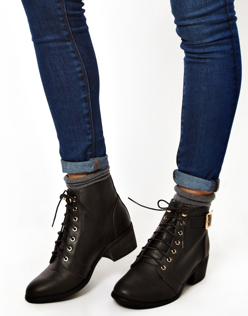 image 3 of new look canada low block heel lace up ankle