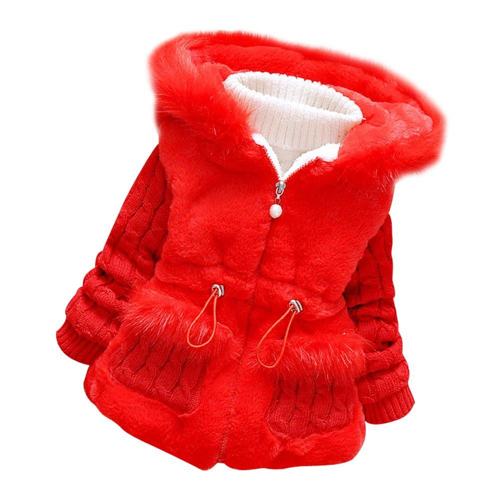1c57ecc2c805 Baby Girls  Toddler Winter Knited Sleeve Fur Coat Jacket with hood ...