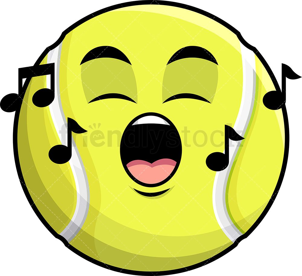 Singing Tennis Ball Emoji Cartoon Clipart Vector Friendlystock Cartoon Clip Art Emoji Tennis Ball