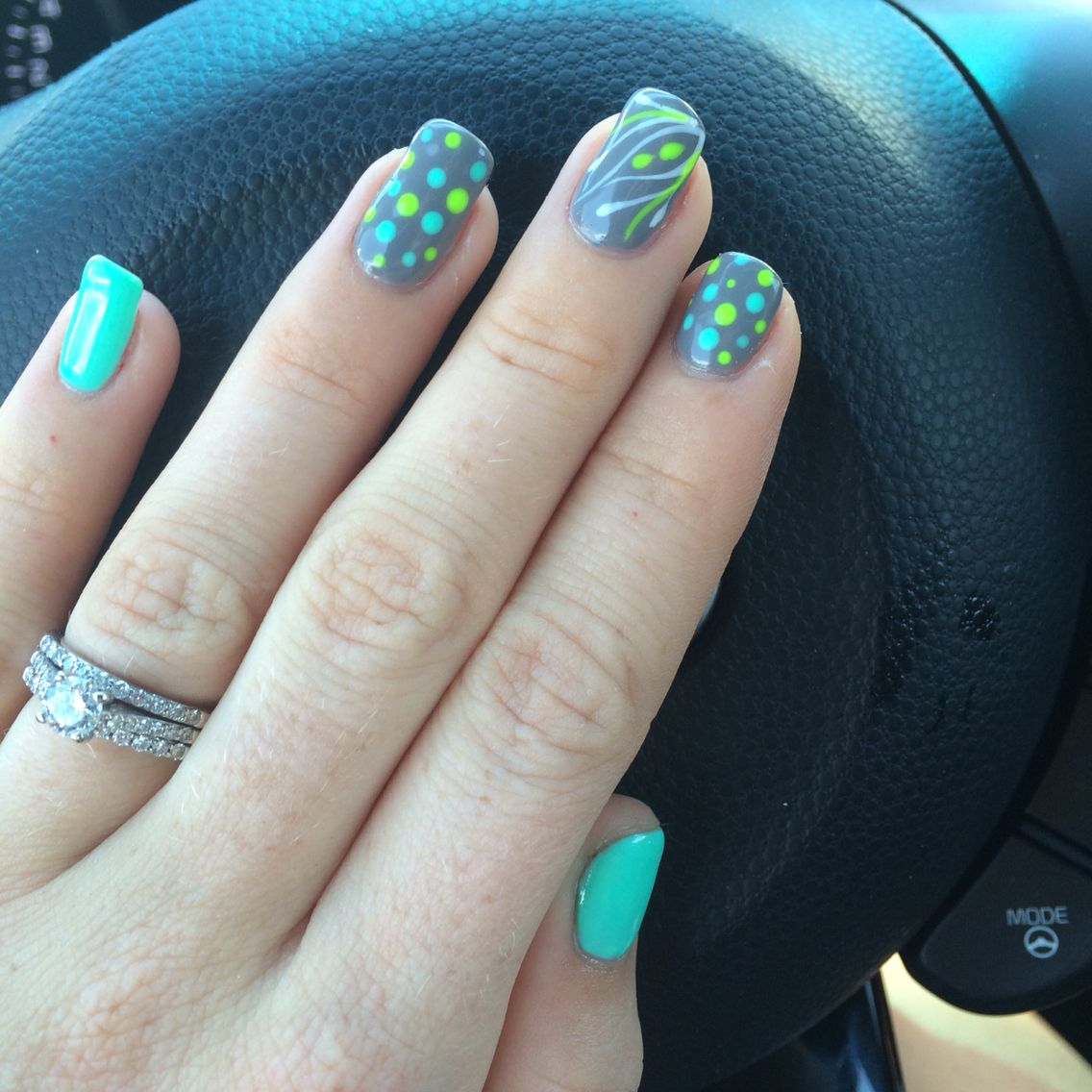 Nails! Tiffany blue, lime green and grey. Poka dots and design. Fun ...