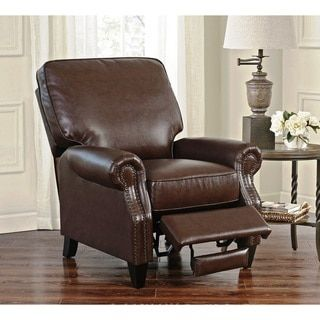 Abbyson Carla Brown Bonded Leather Push Back Recliner By Abbyson