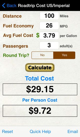 Gas Cost Calculator >> Roadtrip Gas Cost Calculator By Verosocial Studio Iphone