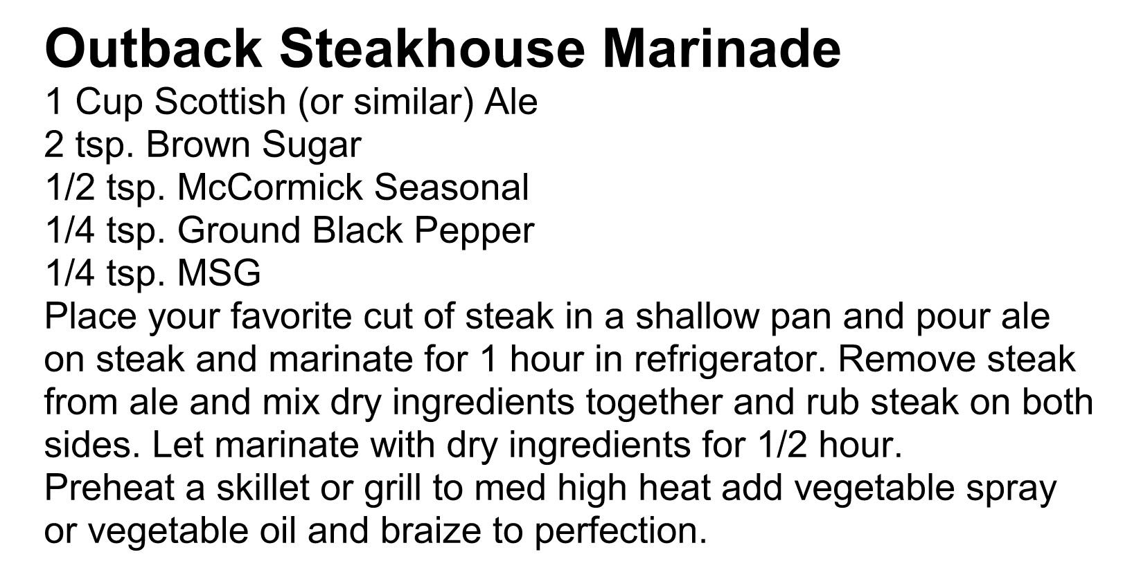 Outback Steakhouse Marinade | Awesome Recipies | Pinterest | Outback ...